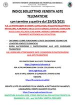 BOLLETTINO ASTE TELEMATICHE MOBILIARI CON VENDITA IN SCADENZA A PARTIRE DAL 23/02/2021