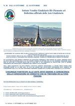 BOLLETTINO N. 38 DAL 11 AL 16 OTTOBRE 2021