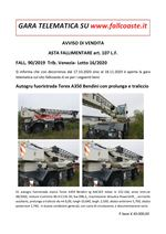 AVVISO DI VENDITA ASTA FALLIMENTARE art. 107 L.F. FALL. 90/2019 Trib. Venezia- Lotto 16/2020 Autogru fuoristrada Terex A350 Bendini