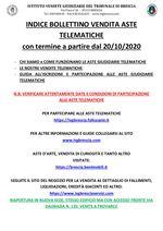 BOLLETTINO ASTE TELEMATICHE MOBILIARI CON VENDITA IN SCADENZA A PARTIRE DAL 21/10/2020