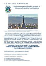 BOLLETTINO N. 18 DAL 27 LUGLIO AL 08 AGOSTO 2020