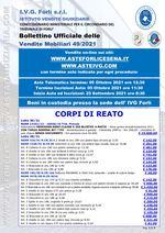 Bollettino aste OnLine termine 05 Ottobre 2021