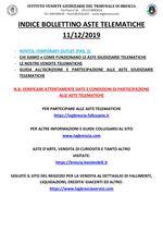 BOLLETTINO ASTE TELEMATICHE DAL 11/12/2019