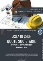 BOLLETTINO N. 74 EDIZIONE VERONA - QUOTE DELLA SOCIETA' STRADA DELLA SENGIA SRL -GARA IL 26 SETTEMBRE 2019