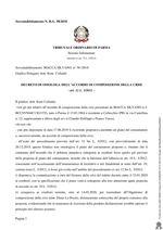 Composizione della crisi da sovraindebitamento 58/2018 - Decreto di omologa accordo composizione della crisi
