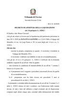 Decreto di apertura della liquidazione RG  n. 34/2020