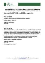 BOLLETTINO VENDITE NOVEMBRE 2020