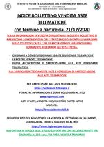 BOLLETTINO ASTE TELEMATICHE MOBILIARI CON VENDITA IN SCADENZA A PARTIRE DAL 21/12/2020