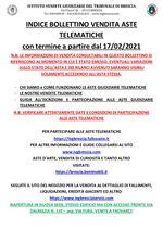 BOLLETTINO ASTE TELEMATICHE MOBILIARI CON VENDITA IN SCADENZA A PARTIRE DAL 17/02/2021