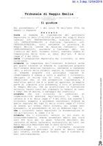 Decreto procedura di liquidazione del patrimonio RG 1-2019