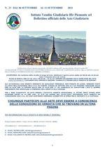 BOLLETTINO N. 33 DAL 06 SETTEMBRE AL 11 SETTEMBRE 2021