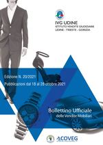 BOLLETTINO DELLE VENDITE GIUDIZIARIE MOBILIARI N. 20 DEL 28 OTTOBRE 2021