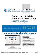 Bollettino Ufficiale delle Aste Giudiziarie Sezione Mobiliare n. 38/2019