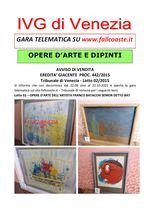 AVVISO DI VENDITA dal 22.09 al 22.10.2021 EREDITA' GIACENTE PROC. 442/2015 Opee D'arte dell'artista Franco Battacchi e Franco Battacchi detto Bat - Trib. Venezia- Lotto 02/2015