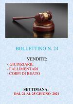 BOLLETTINO N. 24 - ASTE GIUDIZIARIE, FALLIMENTARI E CORPI DI REATO