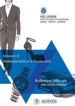 BOLLETTINO DELLE VENDITE GIUDIZIARIE MOBILIARI N. 21 DAL 02 AL 12 DICEMBRE  2019