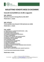 BOLLETTINO VENDITE DICEMBRE 2020