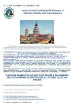 BOLLETTINO N. 11 DAL 16 AL 21 MARZO 2020