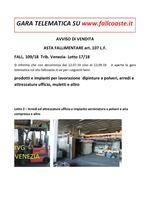 AVVISO DI VENDITA ASTA FALLIMENTARE art. 107 L.F. FALL. 109/18  Trib. Venezia - Lotto 17/18