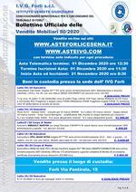 Bollettino aste OnLine termine 01 Dicembre 2020