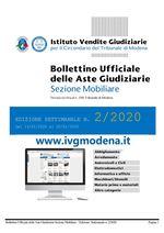 Bollettino Ufficiale delle Aste Giudiziarie Sezione Mobiliare n. 2/2020