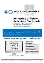 Bollettino Ufficiale delle Aste Giudiziarie Sezione Mobiliare n. 15/2019