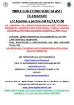 BOLLETTINO ASTE TELEMATICHE MOBILIARI CON VENDITA IN SCADENZA A PARTIRE DAL 18/11/2020