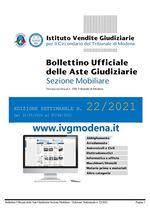 Bollettino Ufficiale delle Aste Giudiziarie Sezione Mobiliare n. 22/2021