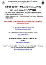 BOLLETTINO ASTE TELEMATICHE MOBILIARI CON VENDITA IN SCADENZA A PARTIRE DAL 30/06/2020