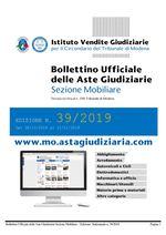 Bollettino Ufficiale delle Aste Giudiziarie Sezione Mobiliare n. 39/2019