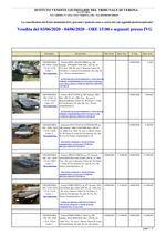 VERONA ELENCO AUTO GARA DEL 03 E 04 GIUGNO 2020 IN VERONA VIA CHIODA N.123/A