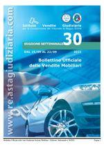 Bollettino ufficiale delle vendite Mobiliari dal 15/09/2021 al 22/09/2021