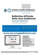 Bollettino Ufficiale delle Aste Giudiziarie Sezione Mobiliare n. 41/2019