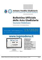 Bollettino Ufficiale delle Aste Giudiziarie Sezione Mobiliare n. 13/2020