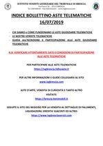BOLLETTINO ASTE TELEMATICHE DAL 16/07/2019