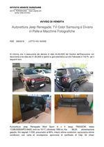 AVVISO DI VENDITA Autovettura Jeep Renegade, TV Color Samsung e Divano in Pelle e Macchine Fotografiche RGE 339/2019 Trib. di Pordenone - Lotto 18/2020