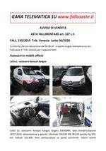 AVVISO DI VENDITA ASTA FALLIMENTARE art. 107 L.F. autocarri e mobili ufficio FALL. 150/19 Trib. Venezia - Lotto 06/20