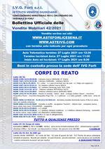 Bollettino aste OnLine termine 27 Luglio 2021