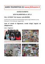 AVVISO DI VENDITA ASTA FALLIMENTARE art. 107 L.F. Articoli bigiotteria, arredo design negozio ed abbigliamento FALL. 117/2019 Trib. Venezia - Lotto 08/20