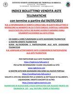 BOLLETTINO ASTE TELEMATICHE MOBILIARI CON VENDITA IN SCADENZA A PARTIRE DAL 04/05/2021
