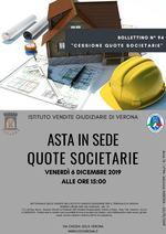 BOLLETTINO N. 94 - EDIZIONE VERONA- QUOTE DELLA SOCIETA' STRADA DELLA SENGIA SRL -GARA IL GIORNO 6 DICEMBRE 2019