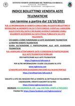 BOLLETTINO ASTE TELEMATICHE MOBILIARI CON VENDITA IN SCADENZA A PARTIRE DAL 13/10/2021
