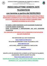 BOLLETTINO ASTE TELEMATICHE MOBILIARI CON VENDITA IN SCADENZA A PARTIRE DAL 03/03/2021