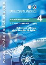 Bollettino ufficiale delle vendite Mobiliari dal 23/01/2019 al 30/01/2019