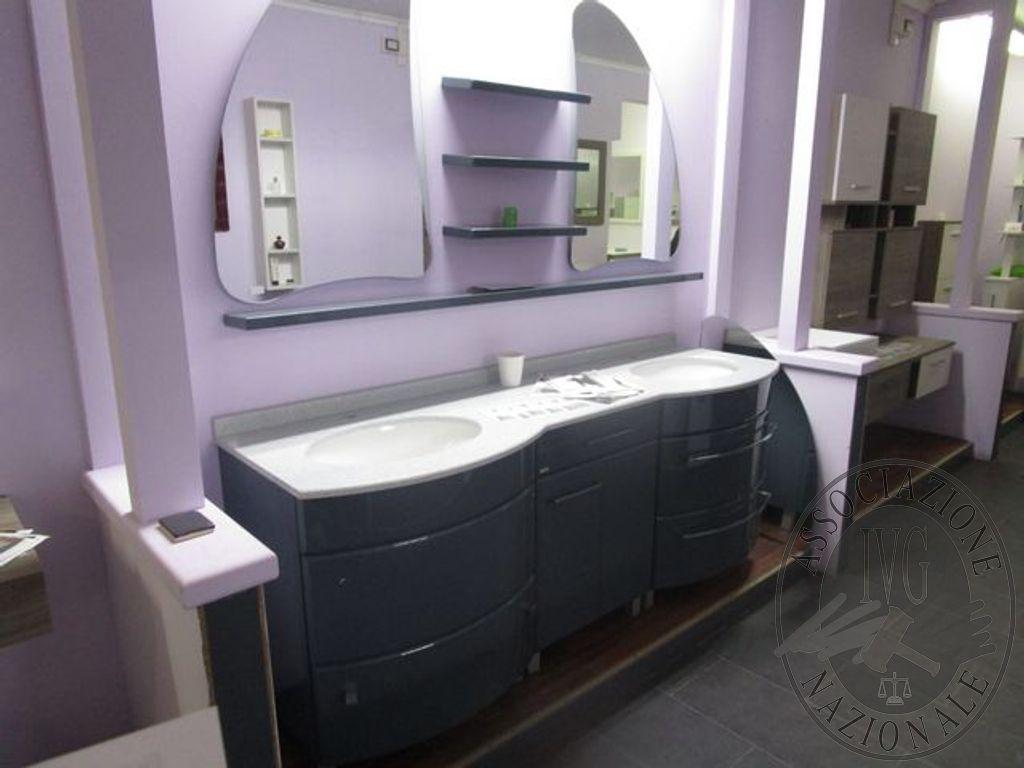 Mobile bagno stondato grigio laccato lucido 198x60 n 2 lavabi e doppia specchiera a luna - Mobile bagno stondato ...