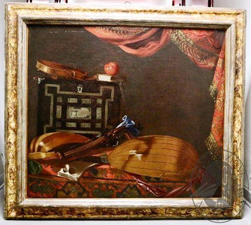 """RGE 3730/2017 Tribunale di Bergamo - Lotto 1: un dipinto olio su tela, cm 83×96 del pittore Evaristo Baschenis raffigurante """"Strumenti musicali e scrigno"""""""