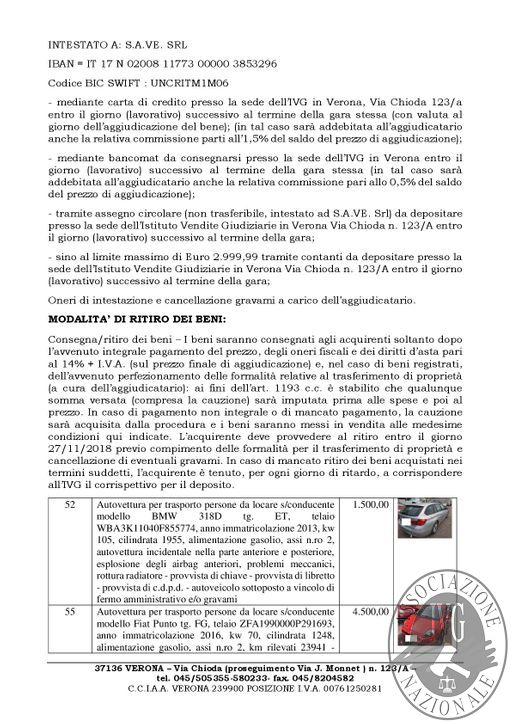 FALLIMENTO OSCAR RENT -20/11/2018