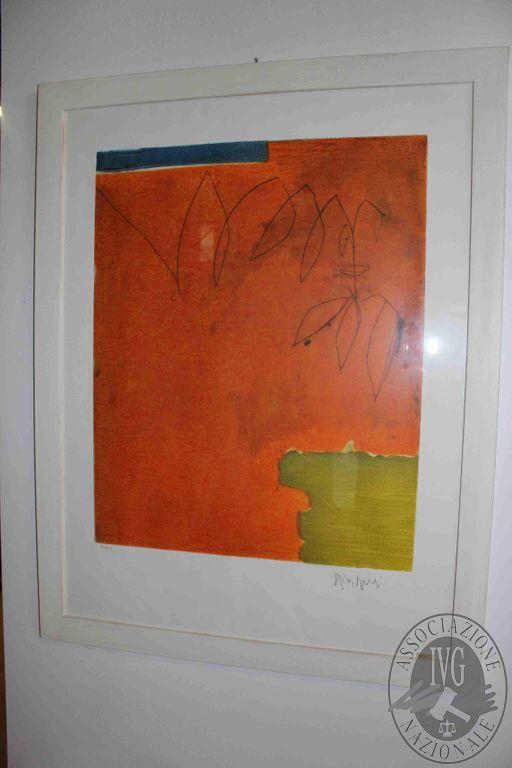 Rif 317 ZONA 5 QTA1 Quadro con cornice in legno bianco (soggetto astratto su sfondo arancione)