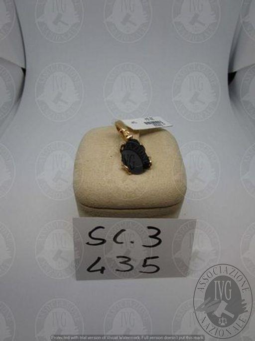 LOTTO 435 - CIOND  CHANT GIADA NERA GR. 3,60 ORO GIALLO 750 %..