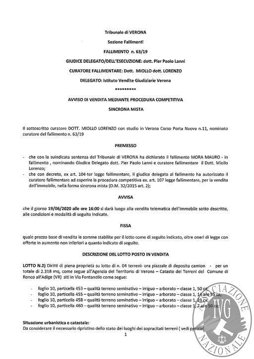 BOLLETTINO N. 15 EDIZIONE VERONA - GARA IL GIORNO 19 GIUGNO 2020 ALLE ORE 16.00 VENDITA SINCRONA MISTA RONCO ALL'ADIGE (VR)_page-0002.jpg